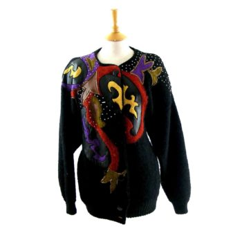 Womens 80s Sweaters- patchwork cardigan