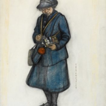 womens fashion 1915 - A Bus Conductress, 1919, by Victoria Monkhouse. Art.IWM ART 2316