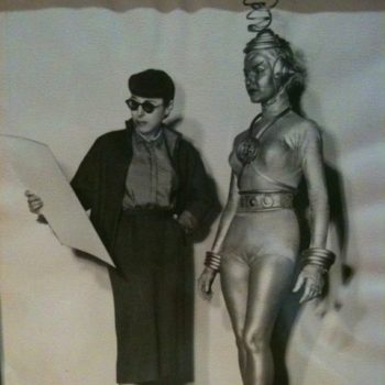 Edith Head and an actress.
