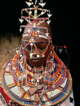 masai-lavishly beaded bride