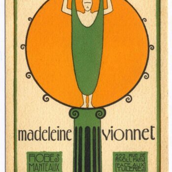 Even the woman in the Vionnet logo looks unsure how to put on her new Vionnet dress - Madeleine Vionnet logo designed by Ernesto Michahelles dit Thayaht, 1922