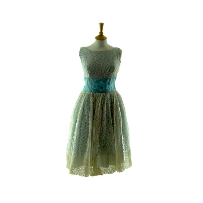 50s baby blue lace party dress
