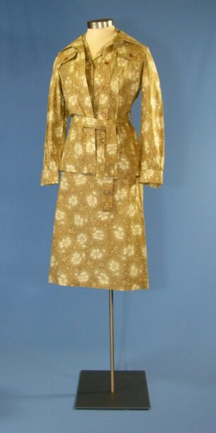 Summer Florals - First Lady Betty Ford's brown summer floral print traveling suit, 1971