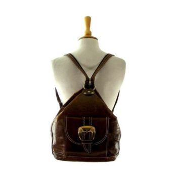 Vintage backpacks - Tooled Brown leather Backpack
