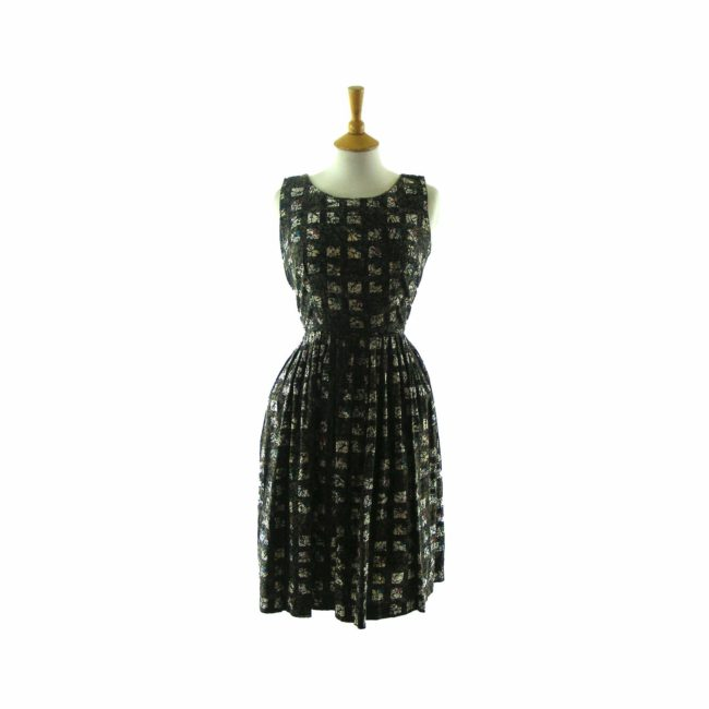 Abstract print-50s dress