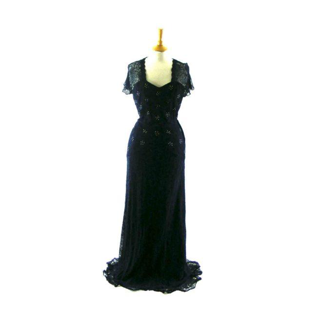 Blue lace 1940s Evening dress