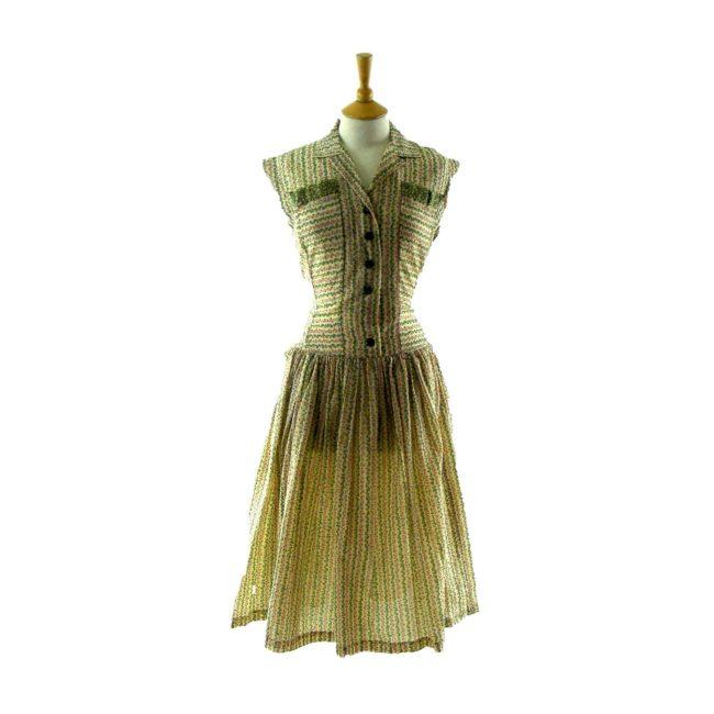 Printed 1950s vintage dress