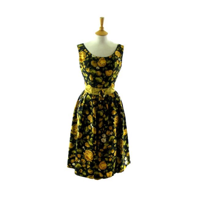 yellow & black floral print 50s dress
