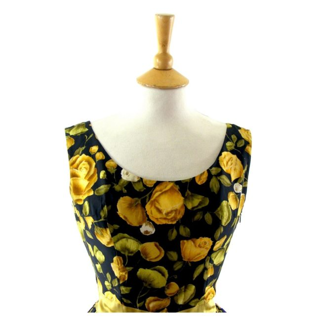 yellow & black floral print 50s dress ,close up