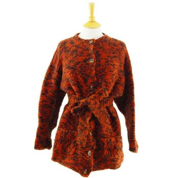 Vintage knitwear - Womens Orange And Black Cardigan