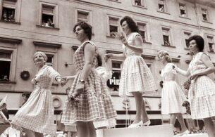 Women wearing 1960s vintage dresses, 1961