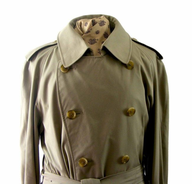 Close up of Mens Beige Burberry Trench coat