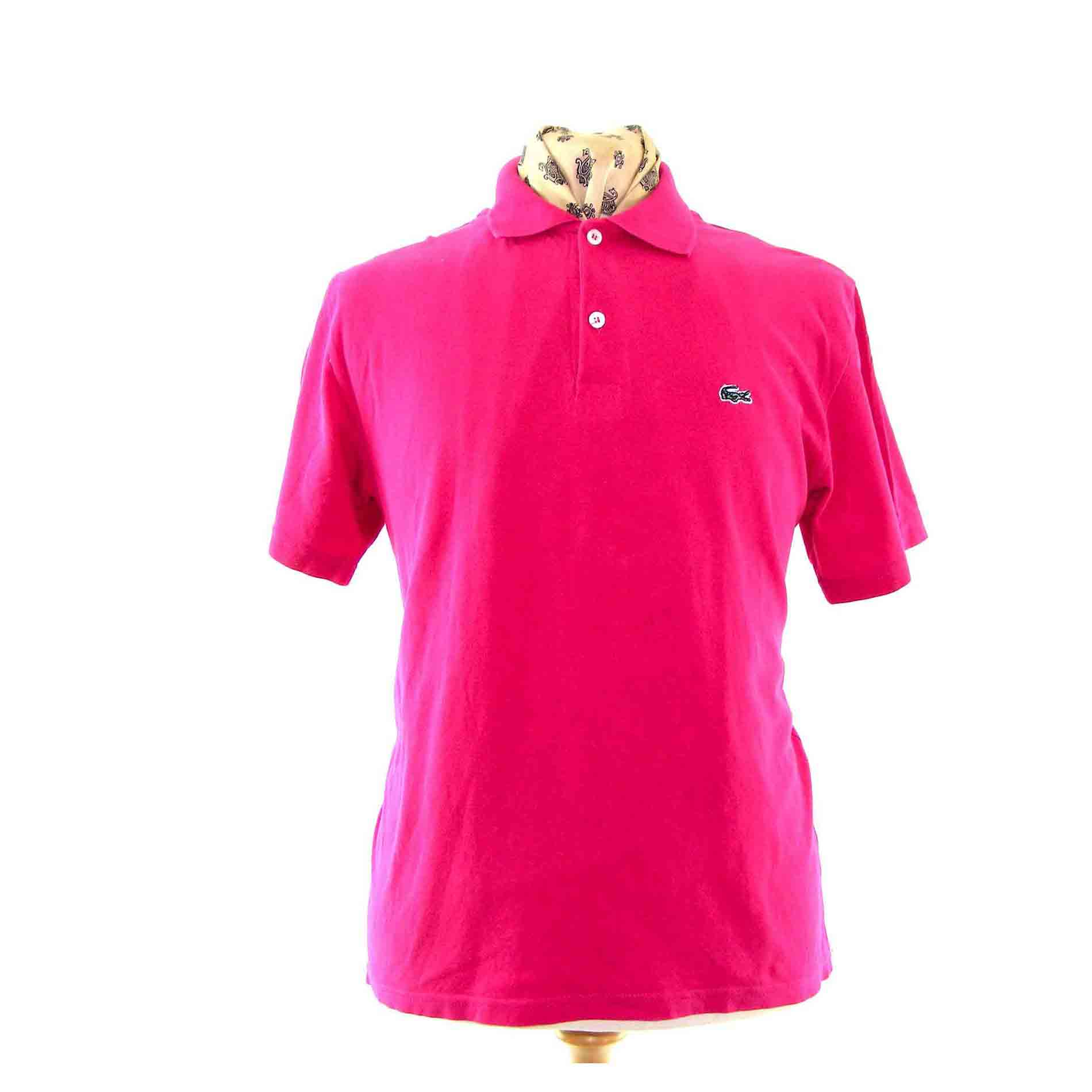 Fluorescent pink polo shirt - Vintage Clothing - Blue 17