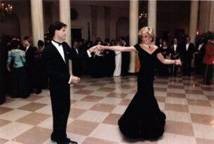 womens 1980s vintage dresses - John Travolta and Princess Diana dancing