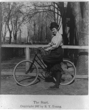 An 1897 cyclist in bloomers.