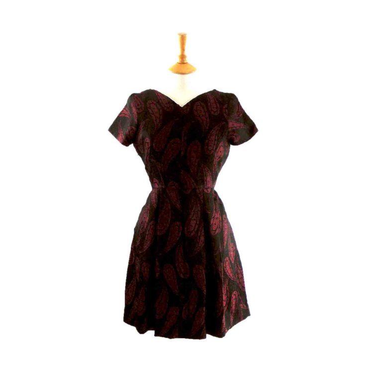 60s Dark Red Brocade Dress