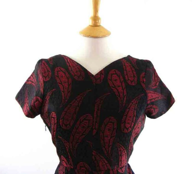 60s Dark Red Brocade Dress-close up