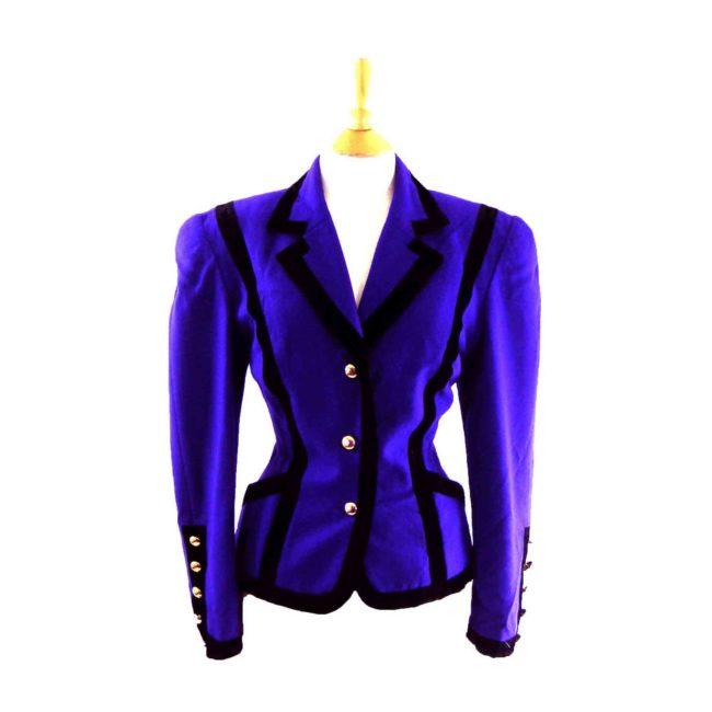 90s Purple Velvet Trim Blazer