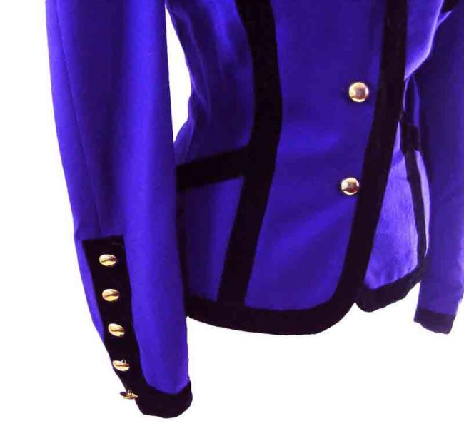 90s Purple Velvet Trim Blazer -close up