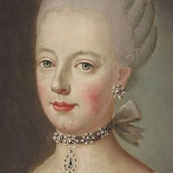European Make up History-Detail of a portrait of Marie Antoinette.