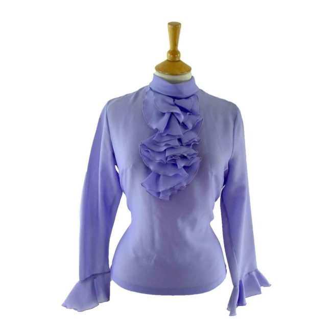 60s purple ruffled blouse