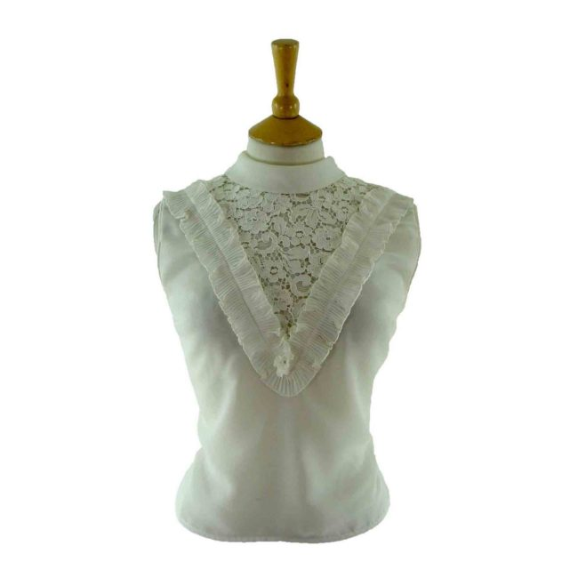 60s white ruffled blouse