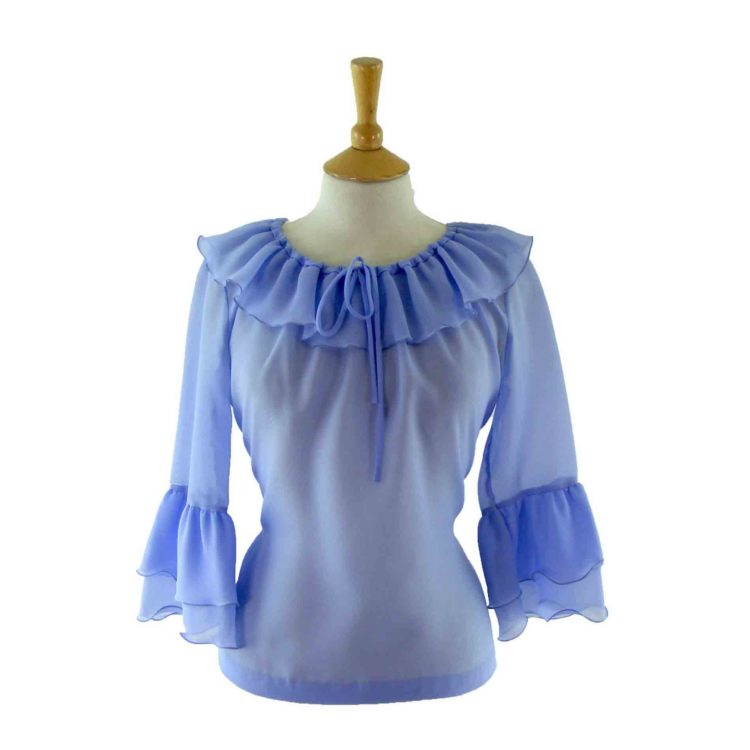 70s lilac ruffled blouse