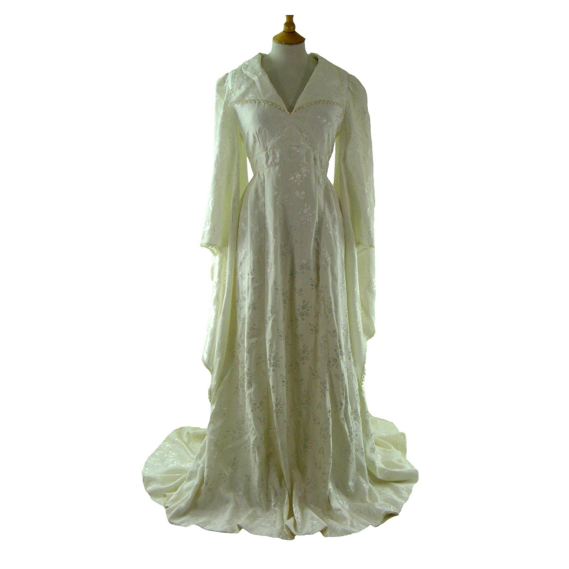1960s Satin Wedding Dress Vintage Clothing Blue 17