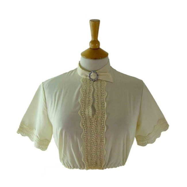 60s White Cropped Blouse