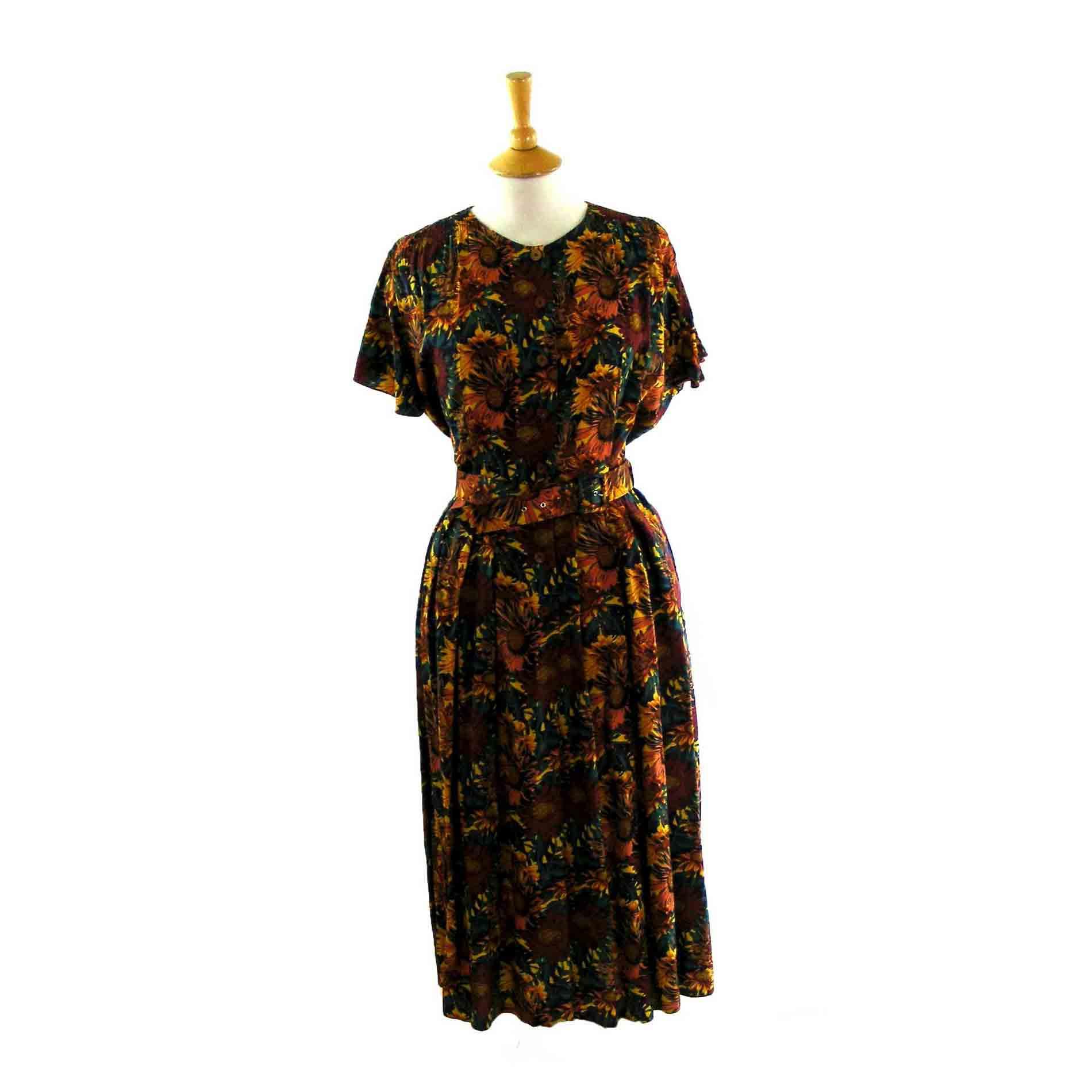 90s Floral Dress Vintage Clothing Blue 17