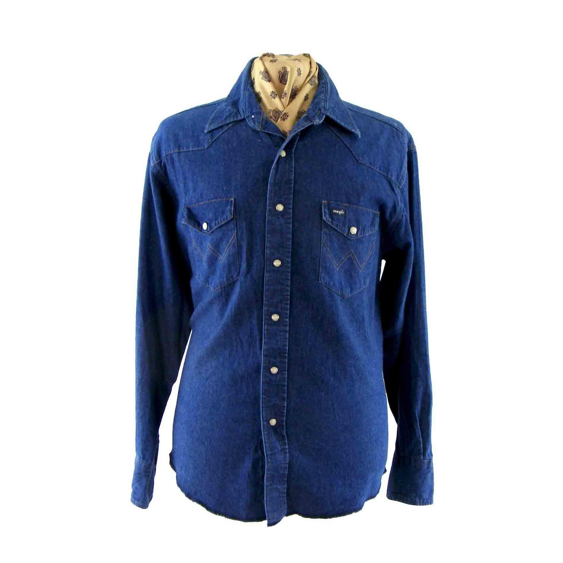 Wrangler blue denim shirt vintage clothing blue 17 for Wrangler denim shirts uk