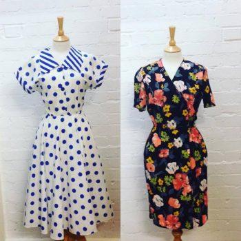 80s polkadot & floral print dresses