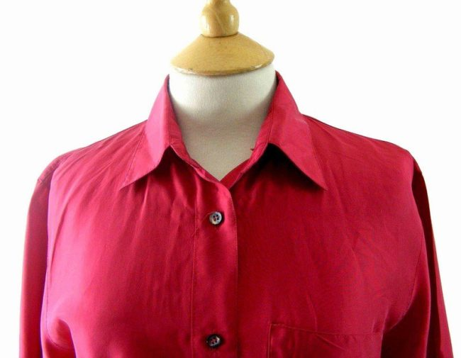Close up of 90s Red Silk Short Sleeved Blouse