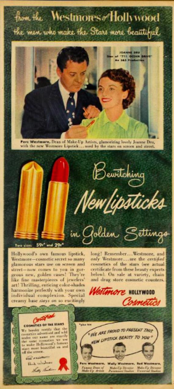 Lipstick advert featuring actress Joanne Dru, 1951