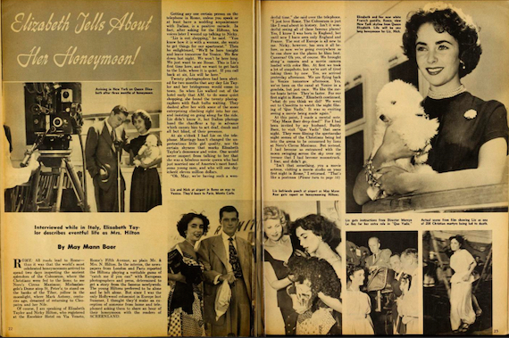 Elizabeth Taylor tells about her honeymoon.
