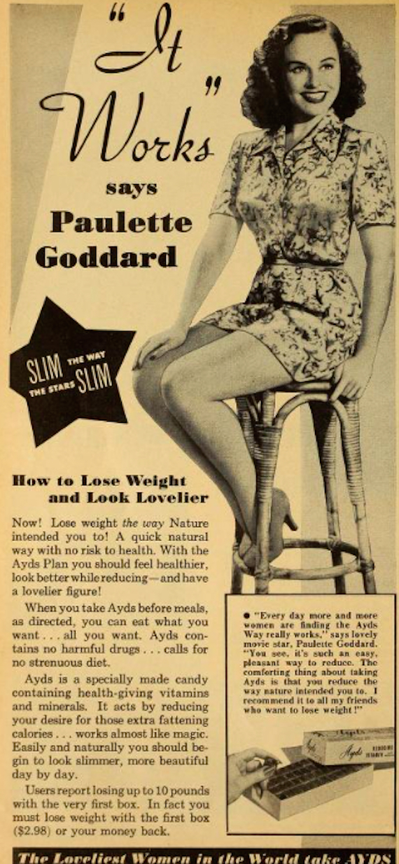 Paulette Goddard insists slimming chocolates work.