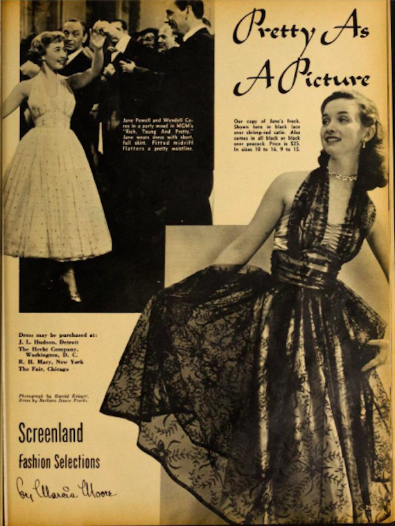 Advert for copies of dresses worn on screen, 1951
