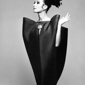 Balenciaga Shaping Fashion review-Alberta Tiburzi in 'envelope' dress by Cristóbal Balenciaga, Harper's Bazaar, June 1967 © Hiro 1967. Image courtesy V and A Museum.