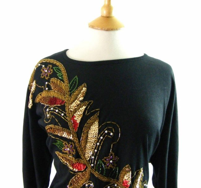 Close up of 80s Sequined Beaded Black T shirt