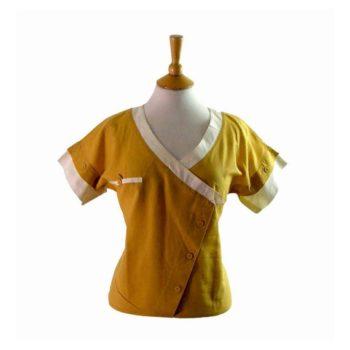 80s Yellow Asymmetric V Neck Blouse