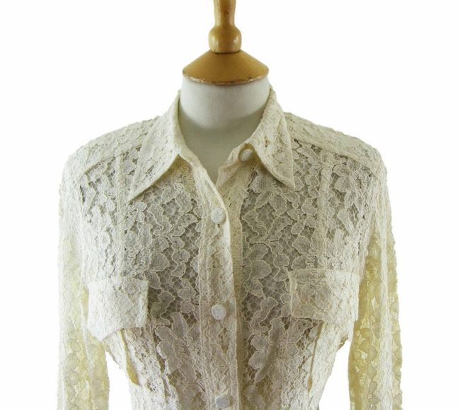 Close up of 90s Cream Lace Blouse