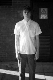 Mens Fashion Photo shoot - Ben Sherrel models white aertex casual shirt