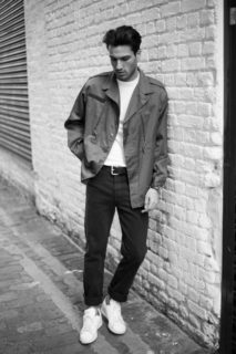 Petar-f1 olive green field jacket and denim jeans