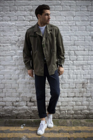 September 2017 Mens Fashion Photo shoot- Petar models olive drab military jacket