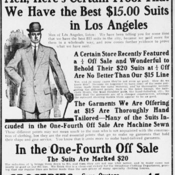 five classic vintage workwear styles - Newspaper_advertisement_for_men's_suits,_1909