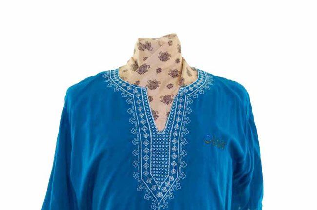 70s Peacock Blue Resort Shirt closeup
