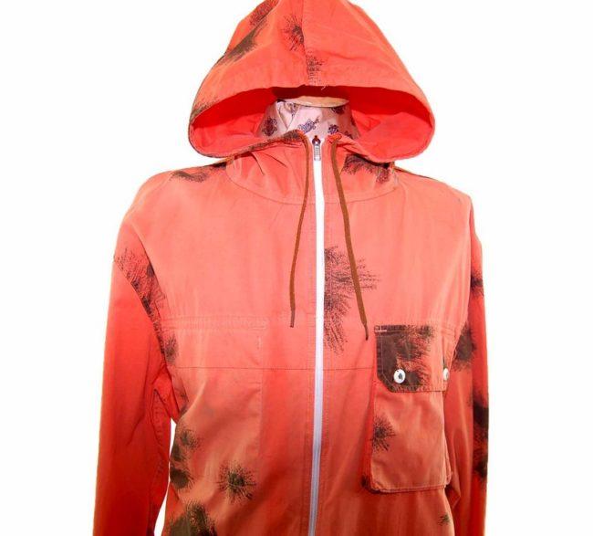90s Tie Dye Orange Hooded military parka jacket closeup