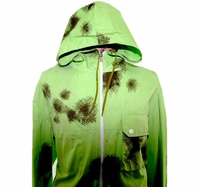 90s Tie Dye Bright Green Hooded Army Parka closeup