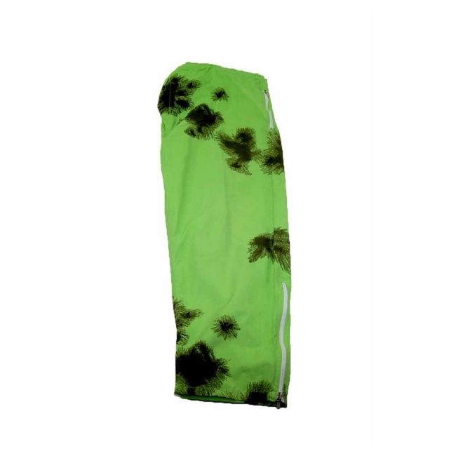 90s Tie Dye Lime Green Military Trousers closeup