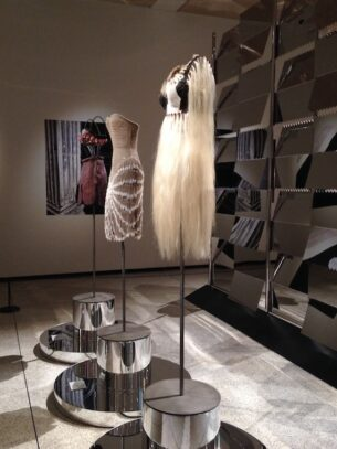 Exhibition view, Azzedine Alaia: The Couturier.cowhide dress